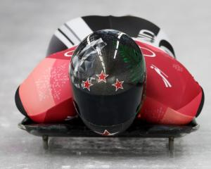 New Zealand skeleton racer Rhys Thornbury in action during the heat. Photo: Reuters