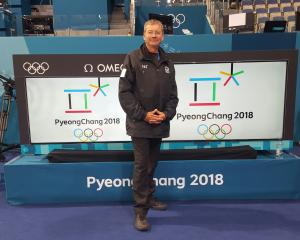 Darren Carson at the curling rink at the Pyeongchang Olympics. Photo: Supplied