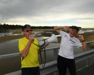 Wayne Allen (left) and Peter Hill prepare for tomorrow's Papatowai Challenge. Photo: Stephen...