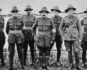 A group of Otago boys on active service. From left: Privates Meean, Tohill, Collins, Campbell,...