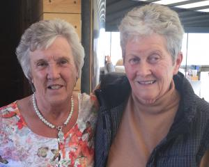 Old pen-pals Anna Black (left) and Penny Campbell meet for the first time in 60 years, in an...