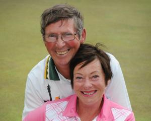 Engaged couple Peter Davies and Gail Page at the St Clair Bowling Club yesterday. Photo:...