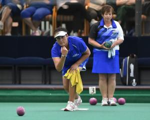 Winning lead Angie Francis sends down a bowl during the final of the North East Valley women's...