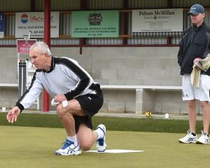 Wakari's Geoff Purdon delivers a bowl during the Champion of Champions singles final at the...