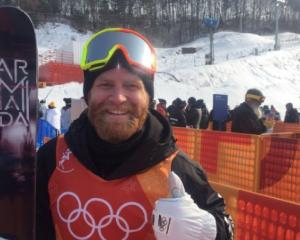 Bryon Wells after competing in the men's halfpipe qualifiers at the Winter Olympics. Photo: Twitter