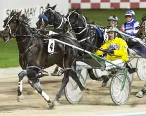 Field Marshal on his way to New  Zealand Messenger glory at Alexandra Park on Friday night. Photo...