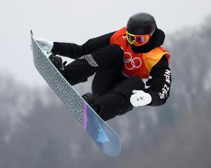 Carlos Garcia Knight of New Zealand competes during the Men's Slopestyle qualification on day one...