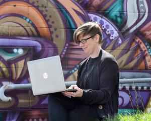 Dunedin Pride Festival co-ordinator Hahna Briggs prepares for the upcoming event. Photo: Stephen...