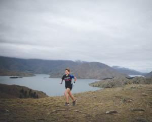 Wendy Fallon is preparing to run home in the Alps 2 Ocean race from Mt Cook to Oamaru. Photo:...