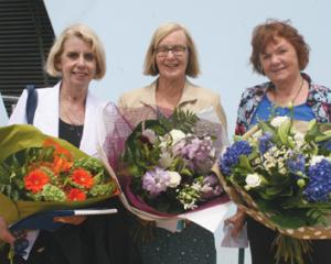 IMG 7208: Farewelled Te Anau School long-time dedicated teachers (L to R)  Lynne Smith, Miriam...