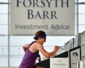 Sarah Rhodes, of Dunedin, competes in the triple stadium challenge at Forsyth Barr Stadium...