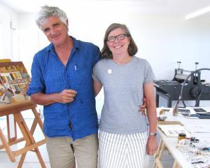 Wellington couple artist/writer Gregory O'Brien and writer/anthologist Jenny Bornholdt enjoy the...