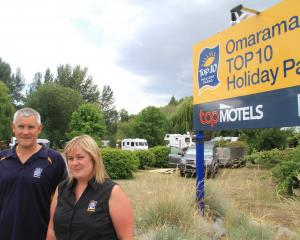 Tony and Amanda Chapman outside the Omarama Top 10 Holiday Park. Photo: Hamish MacLean