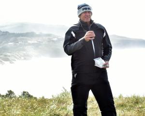 Peter Folwer walks the Chisholm Park Golf Links yesterday before the New Zealand Legends Masters,...