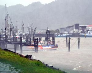 The port of Greymouth was all stirred up. The tuna fleet was taking shelter. Photo: Greymouth Star