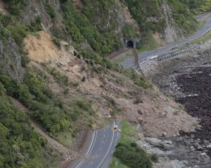 Roads were closed following slips triggered by the quake. Photo: ODT