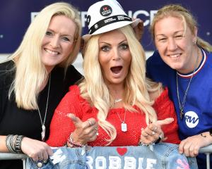 Robbie Williams fans (from left) Amanda Bail, Karen McCuskey and Bec Christou still look fresh...