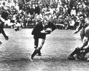 Gary Seear on the charge for the All Blacks against the Wallabies in 1978. PHOTO: ODT FILES