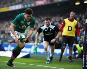 Ireland's Jacob Stockdale scores a try. Photo: Reuters