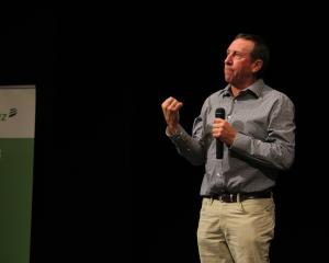 Doug Avery speaks to farmers in Tapanui last week about taking control of their top paddock....