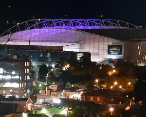 Forsyth Barr Stadium is lit up in a shade of blue on Monday night to mark the start of the...