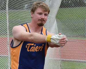 Todd Bates prepares for the hammer throw competition at this weekend's Otago athletics...