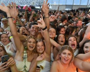 A throng of students get into the spirit of the Otago University Student Association's annual...