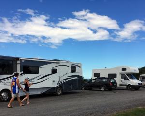 People walk past freedom camping vehicles parked in Brighton Domain on Sunday. Photo: Shawn McAvinue