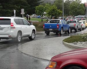 Traffic trying to get out of Wanaka  at a standstill at the Ardmore St roundabout. Photo: Kerrie...