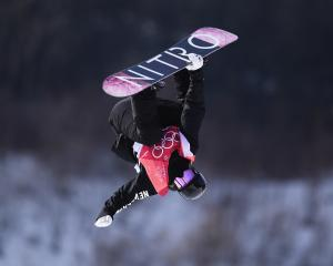 Zoi Sadowski Synnott competes during the Snowboard Ladies' Big Air Qualification at the...