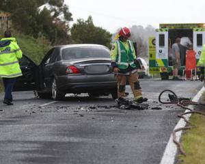 Emergency services at the crash scene in Northland today. Photo: NZ Herald