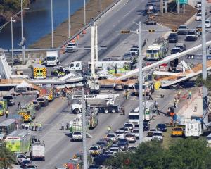 An aerial view of the collapsed bridge. Photo: Reuters