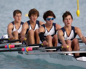 The Otago Boys High School  under-16 quadruple sculls crew of (from left) coxswain Brady...