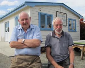 Alexandra Men's Shed trustees Neil McArthur (left) and Trevor Goudie celebrate a $200,000 grant...