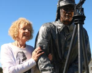 Edna McAtamney celebrates the restoration of the John Turnbull Thomson statue in Ranfurly. Photo:...
