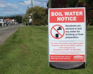 This boil water notice has been on the main street of Ranfurly for three weeks. Photo: Tom Kitchin