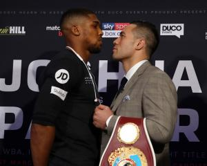 Anthony Joshua and Joseph Parker face-off at their press conference ahead of the world title...