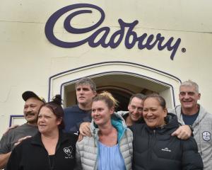 Cadbury workers Simi Lipine (left), Teresa Gooch, Andy Spek, Karen Gemmell, Campbell McPhee, Bora...