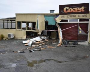 The Coast Cafe on Beach Rd on Saturday after the Friday night crash. Photo Richard Savage