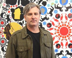 Chris Heaphy in front of The floating world. Photo: Milford Galleries Dunedin/Glenn Frei