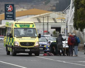 A man has been taken to Dunedin Hospital after colliding with a car this afternoon. Photo: Gregor...