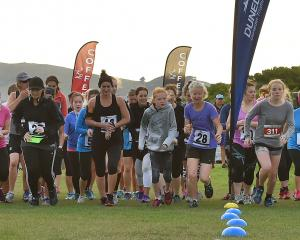 Competitors line up at the beginning of the women's duathlon at Kettle Park yesterday morning....