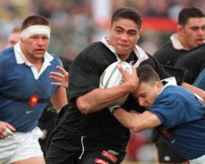 Dylan Mika in action for the All Blacks against France in the lead-up to the 1999 Rugby World Cup...