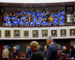 Students from Marjory Stoneman Douglas High School meet with Florida state legislators in...