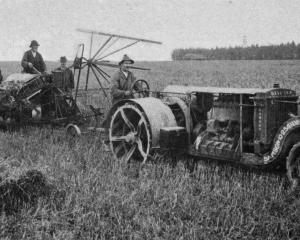 A 25 hp motor tractor at work on Mr Forsyth's farm at Fernside, North Canterbury. - Otago Witness...