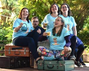 Suitcase Theatre members (from left) Laura Wells, Vincent Batt, Sofie Welvaert (front), Gabby...