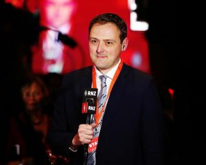 Andrew Kirton is interviewed at the Labour Party election party in Auckland in September last...