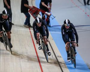 The New Zealand sprint team of Ethan Mitchell, Sam Webster and Edward Dawkins. Photo: Getty Images