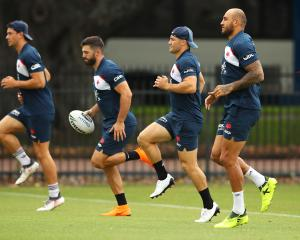 Sysdney Roosters backs (from left) Joseph Manu, James Tedesco, Cooper Cronk and Blake Ferguson...