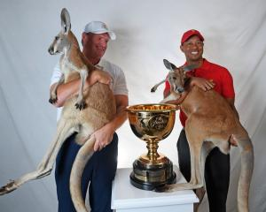 Ernie Els (L) and Tiger Woods are named captains for the 2019 President's Cup in Melbourne,...